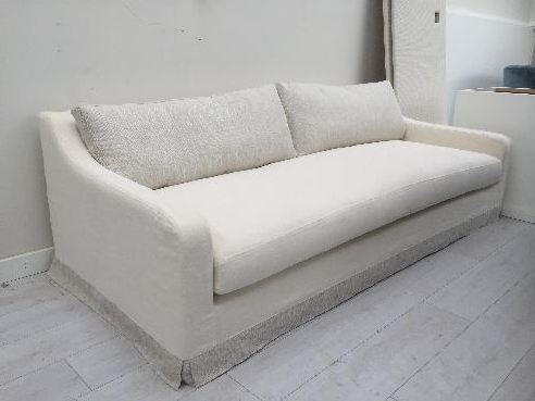 Idex White Linen Loose Cover Sofa
