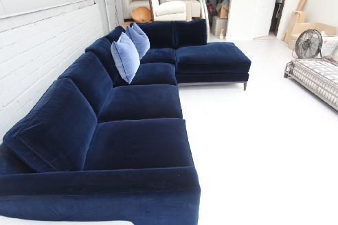 Idex Deep Blue Velvet Corner Sofa